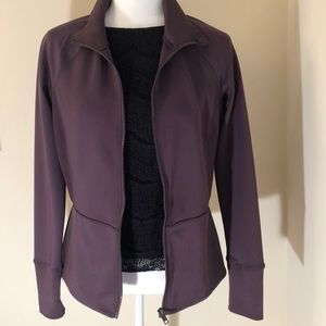 Apana Athletic sweater jacket in plum color